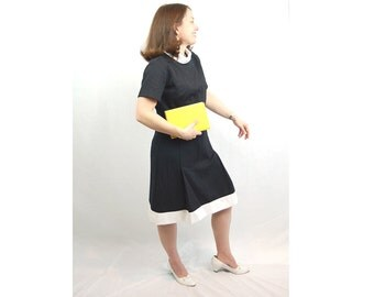 1960s mod dress, Peggy Olson dress, black white dress, turtleneck dress, school girl dress, color block, Size M