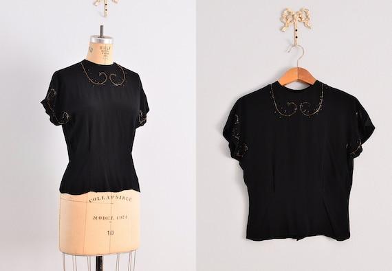 vintage 1940s blouse / noir   / 40s beaded blouse