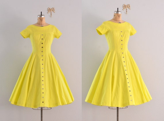 "vintage 1950s ""new look"" dress  / jonathan logan / 1950's limoncello dress"