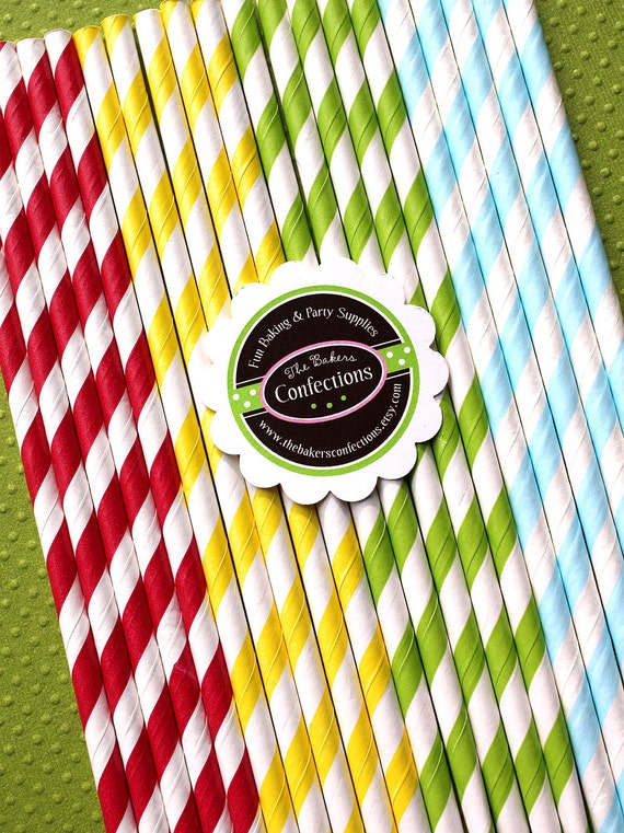 Circus Fun Stripe Paper Straws in Red, Yellow,  Lime, Baby Blue with Printable DIY Flag Toppers (30 count)