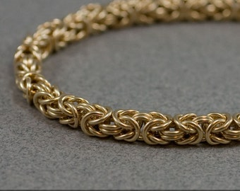 Gold Chain Bracelet - 18g Byzantine Handmade 14k gold filled Chain maille Bracelet