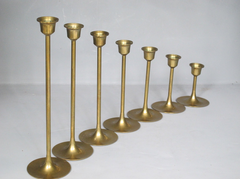 Vintage Set Of 7 Brass Candle Holders Sleek By Milkacervenka