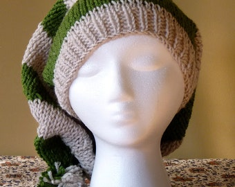 Chunky Hand Knit Slouchy Stocking Hat - Slytherin Colors - Harry Potter