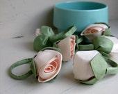 Silk Rosebud Napkin Rings - vintage handmade, pale pink roses - set of 6