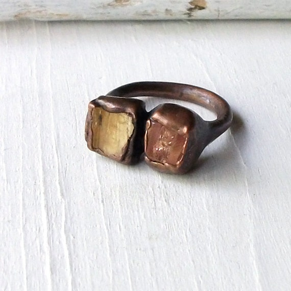 Copper Ring Imperial Topaz Crystal Gold Golden Pink Grapefruit Cocktail Gemstone Stone Rough Handmade