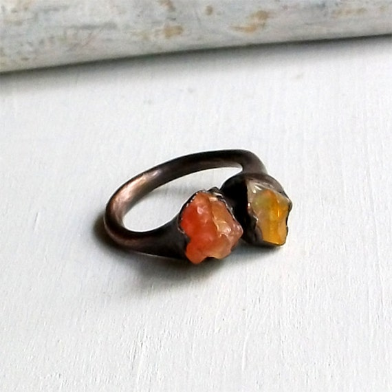 Copper Opal Ring Autumn Fall Fanta Tangerine Orange Gem October Birthstone Raw Handmade Artisan