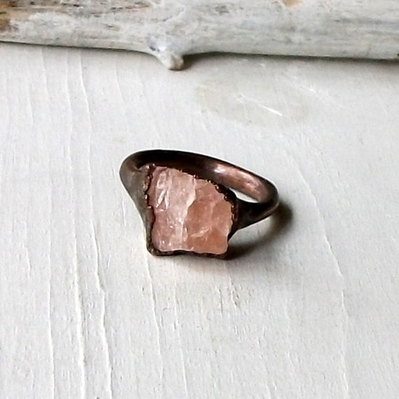 Morganite Copper Ring Pale Peach Pastel Sorbet Beryl Artisan Raw Gemstone Oxidized For her