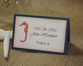 50 Seahorse Wedding Placecards/ Beach Placecards