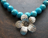 Large Turquoise w/ Silver Flower, Turquoise Statement Necklace