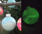 Tester SALE price! DIY Kit to make your own glow the dark, hand painted, Glass Ornaments, Glass Bauble. Geeky Home Decor. Science Art