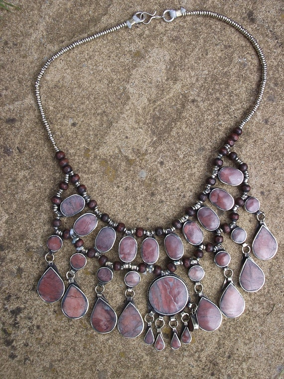 RESERVED for KARI: Gorgeous handmade Afghan Tribal Necklace. Dusky Pink/Rose. Hand made.