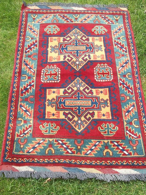 Very Pretty Smaller 3 x 2  Handwoven Kargai kilim/rug/carpet from Afghanistan.