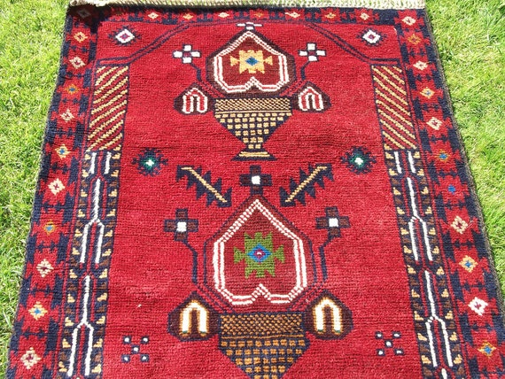 Deep Red  Baluchi rug/kilim from Afghanistan. Hand woven.