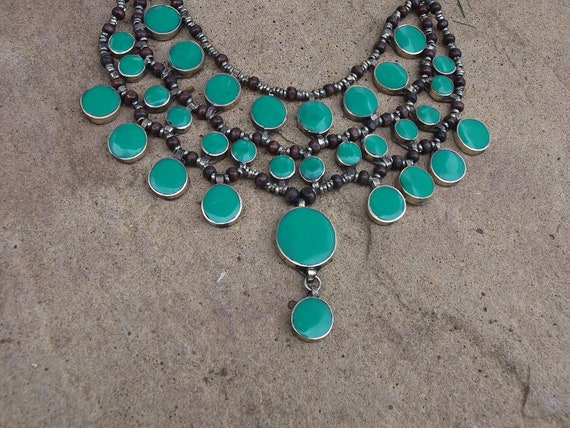 Gorgeous Afghan Tribal Necklace. Bright Green/blue. Hand made.