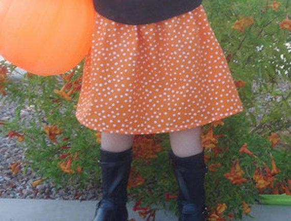 SALE Baby Toddler Girls Skirt - Simple Orange and White Scattered Polka Dot - THREE Matching Tops Available