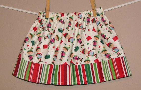 Cyber Monday SALE - Holiday Skirt -Baby Girls -Santa's Little Helper Elves -Holiday Christmas Skirt - Matching Brother Shirt