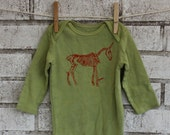 Long Sleeved Unicorn Skeleton Onesie, Cotton Baby Onesie, dyed lime green or custom colors
