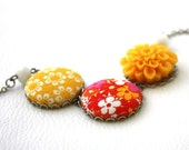 Happy Happy Flowers and Fabric Necklace : Floral Fashion  in Yellow, Orange and Pink Round Colorful Necklace