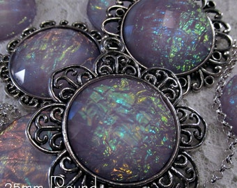 25mm Round - Lilac Opal - Faceted Acrylic Cabochon - 3 pcs : sku 11.24.12.16 - T4