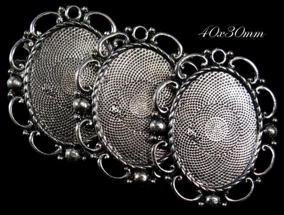 "40x30mm Antique Silver Setting (Lead Free) - ""Florentine Lace"" - 3pcs : sku 06.20.12.7 - M14"