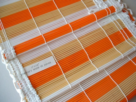 Two Vintage Jencraft Mid Century Orange Gold Striped Vinyl Reed Valance