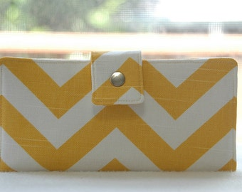All vegan handmade yellow and white chevron