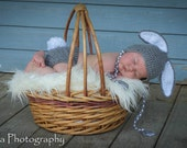 Priority shipping SUPER SALE Ready to ship Crocheted Grey  Baby Bunny hat and diaper cover set