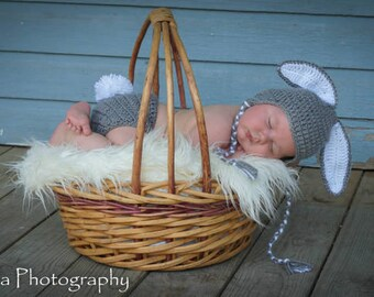 SUPER SALE ready to ship  Crocheted Grey Baby Bunny hat and diaper cover set