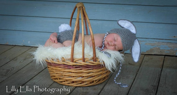 Sale Ready to ship 1-2 day priority Crocheted Grey  Baby Bunny Hat and Diaper Cover set