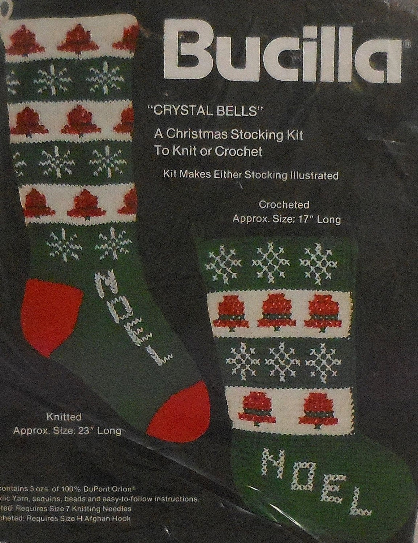 Christmas Stocking Knitting Kits : Vintage bucilla christmas stocking knitting and crochet