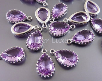 2 lavender purple 12mm faceted teardrop glass charms, glass beads for jewelry making 5049R-LA-12 (bright silver, lavender, 12mm, 2 pcs)