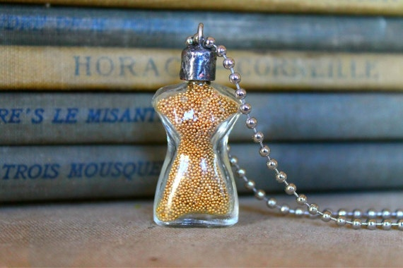 OOAK Rare 1930s Vintage Schiaparelli Shocking Miniature Glass Dress Form Perfume Pendant Charm Bottle