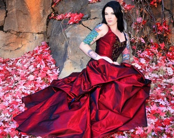 custom made gown--fantasy-Fairytale-snow white-red wedding dress-alternative-couture-custom denver-the secret boutique-fantasy