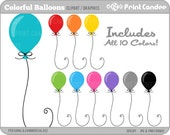 Colorful Balloons - Digital Clip Art - Personal and Commercial Use - birthday party, primarly colors, colorful, bright