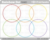 Rainbow Circle Dot Frames - Personal and Commercial Use - digital clipart frames clip art