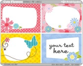 Rectangle - Editable PDF (8x10) Cute Flowers Labels (No. 221) - Printable Labels / Cards - gift wrapping, parties