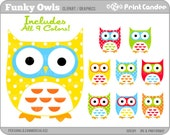 Funky Owls - Digital Clip Art - Personal and Commercial Use - whimsical owls mod retro cute colorful