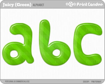 Juicy Alphabet (Green) - Digital Clip Art Personal and Commercial Use - paper crafts card making scrapbooking