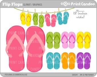 Flip Flops - Digital Clip Art - Personal and Commercial Use - flip flop summer pool fun beach sandal