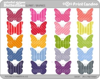 Striped Butterflies (Set of 20) - Digital Clip Art - Personal and Commercial Use - butterfly butterflies shapes