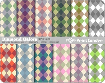 Diamond Galore Paper Pack (12 Sheets) - Personal and Commercial Use - colorful retro mod argyle diamonds funky