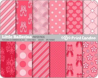 Little Ballerina Paper Pack (12 Sheets) - Personal and Commercial Use 12 x 12 sheets Digital Collage Background Sheet