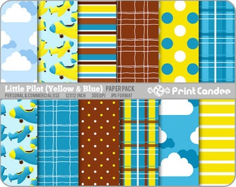 Little Pilot Yellow & Blue Paper Pack (12 Sheets) - Personal and Commercial Use - blue yellow airplanes clouds stripes