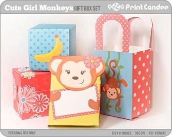 Cute Girl Monkeys - Printable Party Favor Boxes / Party Favor Set - Personal Use Only - Printable - DIY