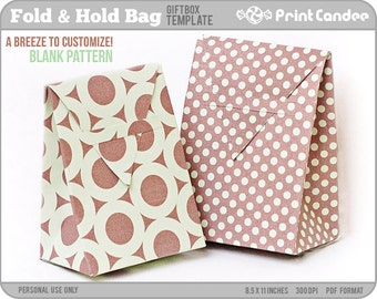 Gift Box Blank Template - Fold Hold Bag - Personal Use Only - Printable - DIY