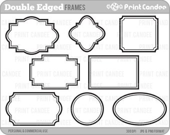 Double-Edge Frames -  Personal and Commercial Use - digital clipart frames clip art modern geometric