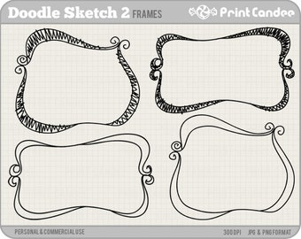 Doodle Sketch Frames 2 -  Personal and Commercial Use - digital clipart frames clip art cute modern label