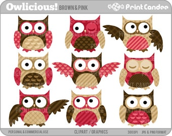 Owlicious (Brown & Pink) -  Digital Clip Art - Personal and Commercial Use - birthday party cupcake topper decorations