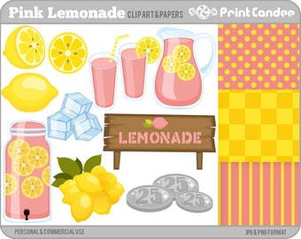 Pink Lemonade - Digital Clip Art - Personal and Commercial Use - pink lemonade pink lemonaid summer ice lemons drink