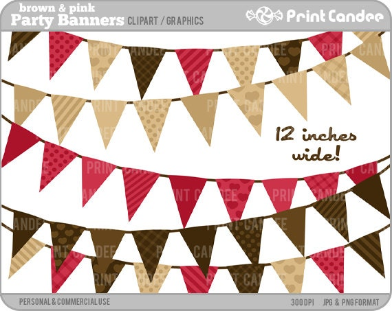 Birthday Party Banners (Brown & Pink) - Digital Clip Art - Personal and Commercial Use - scrapbooking, card making